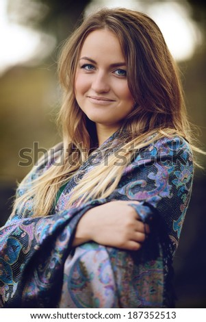 Young woman autumn  - stock photo