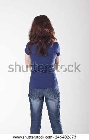 Young Woman Back Portrait. - stock photo