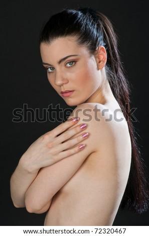 young woman beauty face portrait - stock photo