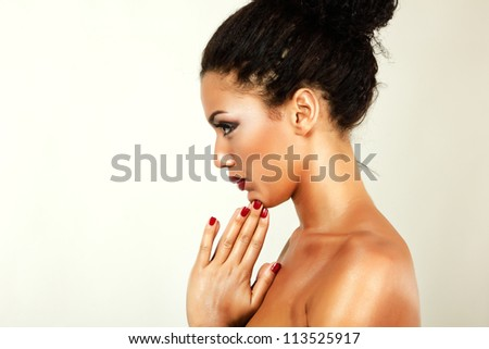 young woman beauty portrait with beautiful makeup in profile, isolated - stock photo
