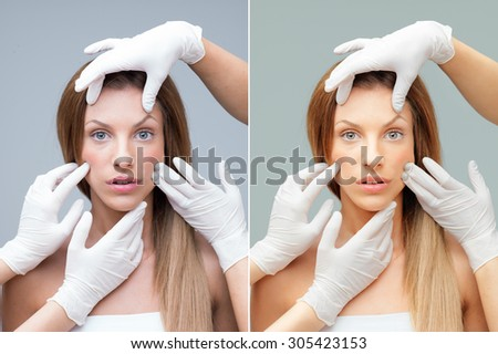 young woman being examinated plastic surgeons' hands before and after retouching - stock photo