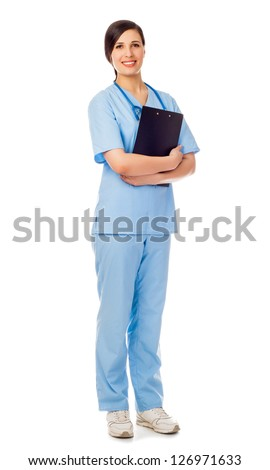 young woman brunette in blue medical suit with stethoscope stand with folder in hands. isolated white background - stock photo