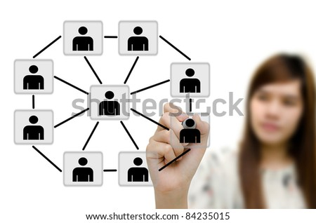Young woman business drawing social network structure in a whiteboard. - stock photo