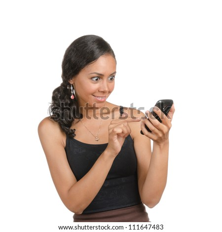 Young woman calling on the phone with different facial expressions. Body language. Happy, surprised, open, confused. Isolated on white . - stock photo