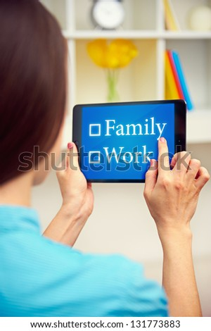 young woman choosing between work and family. concept photo - stock photo