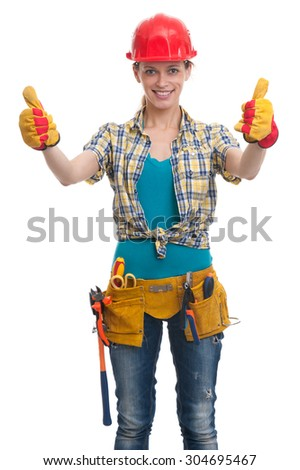 young woman construction worker. Studio shot. Isolated on white - stock photo