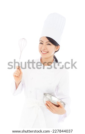 young woman cook holding frying pan isolated on white  - stock photo