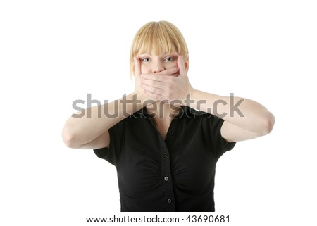 Young woman covering her mouth with hand, isolated on white background - stock photo