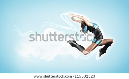 Young woman dancer illustration. With lights effect. - stock photo