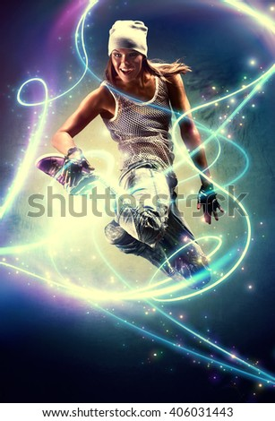 Young woman dancer. With lights traces and sparks effects. - stock photo
