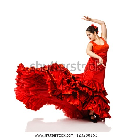 young woman dancing flamenco. Isolated on white - stock photo
