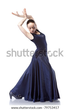 young woman dancing flamenco isolated on white - stock photo