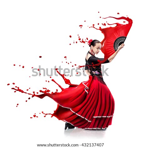 young woman dancing flamenco with paint splashes isolated on whit - stock photo