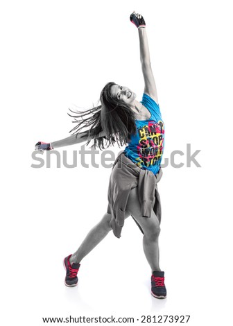 Young woman dancing street dance - stock photo