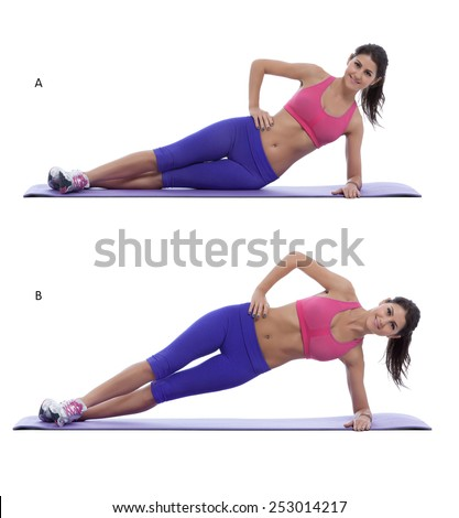 Young woman doing a fitness exercise. Step by step images. - stock photo