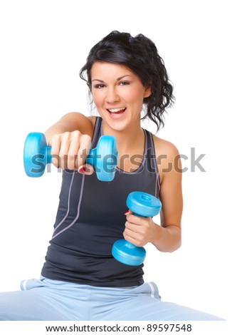 Young woman doing exercise with dumb bell, strengthen her arms and shoulders , isolated on white background - stock photo