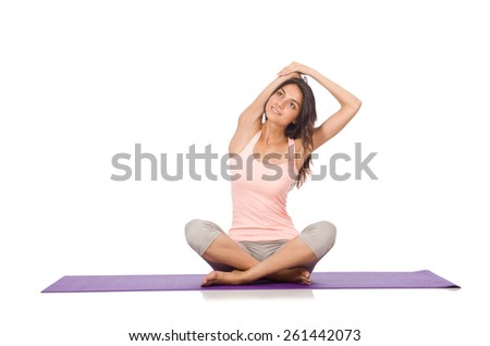 Young woman doing sport exercises isolated on white - stock photo