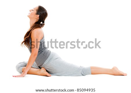 young woman doing the splits. isolated on white background - stock photo