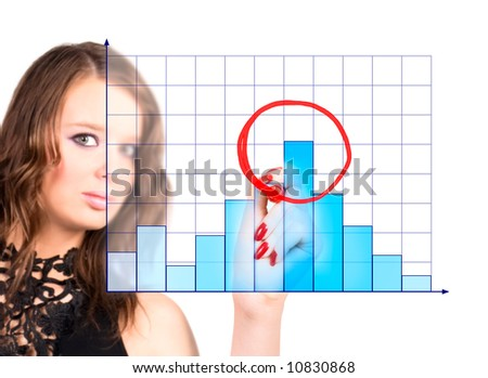 Young woman drawing maximum on diagram. - stock photo