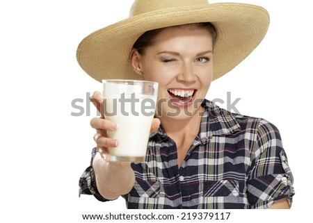young woman  drinking milk on white - stock photo
