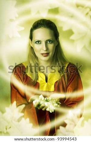 Young woman elf or witch making magic. Fantasy portrait - stock photo