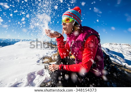 Young woman enjoying the winter - stock photo