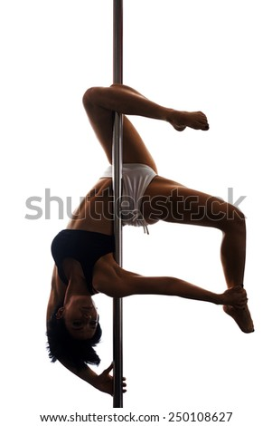 Young  woman exercise pole dance, shadow mode, isolated on white - stock photo