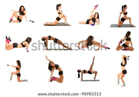Young woman exercising collage - yoga,fitness,pilates,aerobics on isolated white background - stock photo