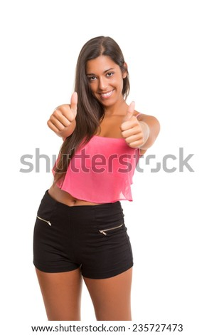 Young woman expressing positivity, isolated over white - stock photo