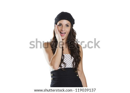 Young woman. Face expression. Isolated on white background - stock photo