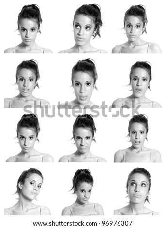 young woman face expressions composite black and white isolated. - stock photo