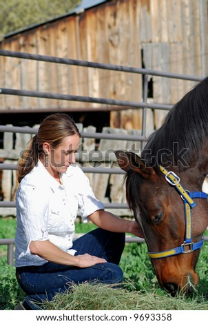 Young Woman feeding horse - stock photo