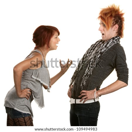 Young woman frustrated with boyfriend in orange hair - stock photo