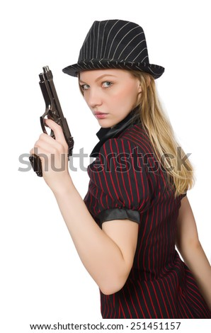 Young woman gangster with gun on white - stock photo