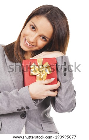 young woman gift - stock photo