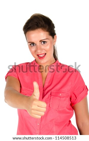 Young woman giving you thumbs up against  a white background - stock photo