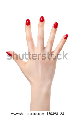 Young woman hand. Isolated on white. - stock photo
