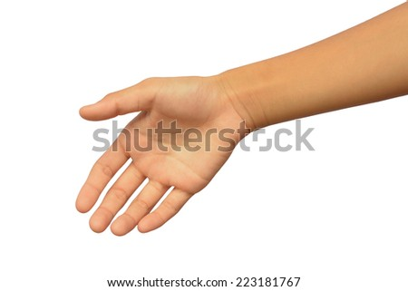 Young woman hand with handshake. Isolated on white. - stock photo