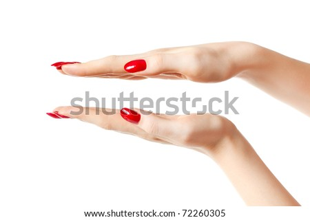 Young woman hands showing size. Isolated on white. - stock photo