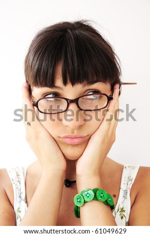 Young woman having menstruation problems - stock photo