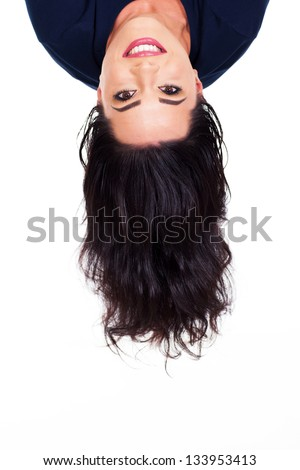 young woman head upside down - stock photo