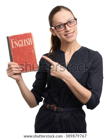 young woman holding a book. english learning concept - stock photo