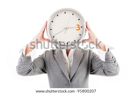 Young woman holding a clock. Business time management concept. - stock photo