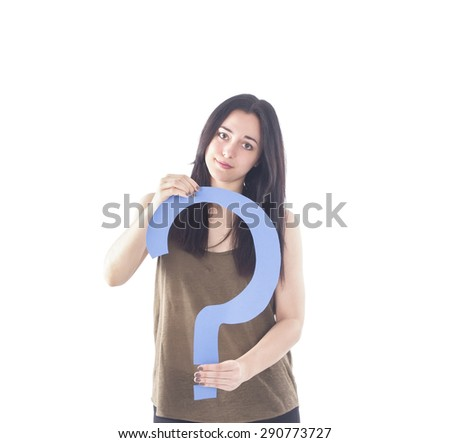 Young woman holding an interrogation symbol against a white background - stock photo