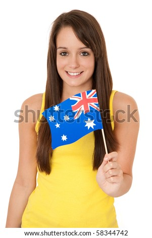 Young woman holding Australian flag isolated on white - stock photo
