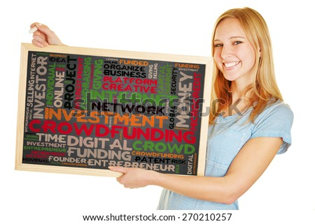 Young woman holding blackboard with crowdfunding concept as a tag cloud - stock photo