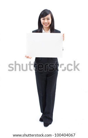 young woman holding blank billboard, isolated on white background - stock photo