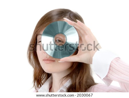 Young Woman Holding Compact Disc over white background - stock photo