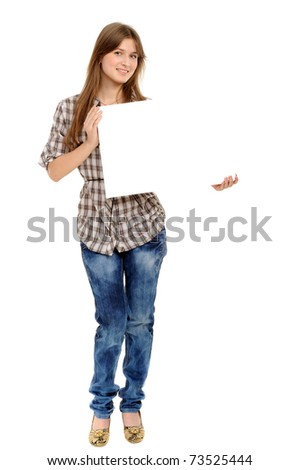 young woman holding empty white board, on a white background - stock photo