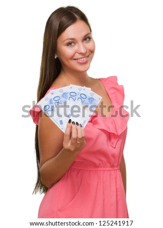 Young Woman Holding Euro Currency Isolated On White Background - stock photo